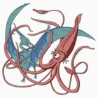 Giant Squid vs Pteranodon by Stuart F Taylor