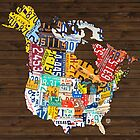 License Plate Map of North America - Canada and United States by designturnpike