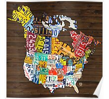 License Plate Map of North America - Canada and United States Poster