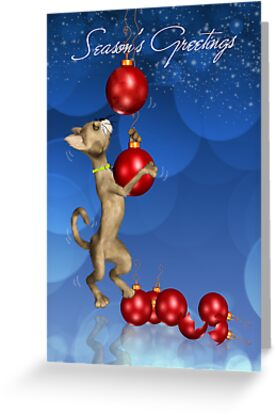 Dangling Cat Christmas Greeting Card by Moonlake