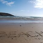 Beach word in sand on beach, Salcombe, Devon, United Kingdom by silverportpics