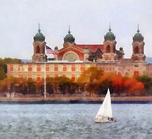 Sailboat by Ellis Island by Susan Savad