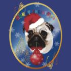 A Merry Christmas Pug Oval by Lotacats