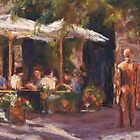 Cafe & Sculpture - San Gimignano, Italy by Terri Maddock