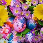 Easter eggs with daffodils and primroses by Michael Brewer