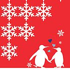 Penguin Couple Dancing in Snow by carmanpetite
