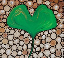 Wisdom Green Leaf Earth Tone Abstract by Sharon Cummings