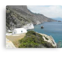 Amorgos Island Sea side Chapel : Greece 4 Canvas Print