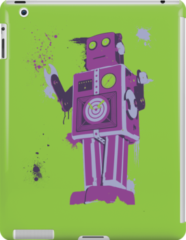 Green Tin Robot Splattery Shirt or iPhone Case by thedailyrobot