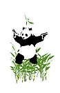 Panda - on Leaves with White Background by impulsiVdesigns