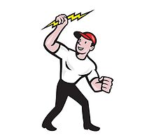 Electrician Construction Worker Cartoon  by patrimonio
