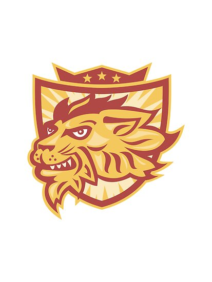 Lion Mascot Head Shield   by patrimonio