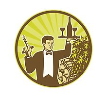 Waiter Serving Wine Grapes Barrel Retro  by patrimonio