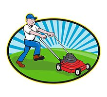 Lawn Mower Man Gardener Cartoon  by patrimonio
