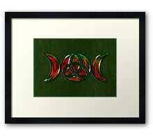 Triple Moon Goddess Symbol with Trinity Knot Framed Print