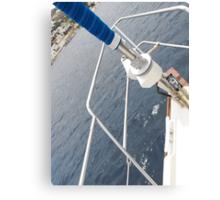 Bow of an Amel sailboat Canvas Print