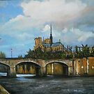 Nortre Dame Cathedral on the Seine by Jsimone