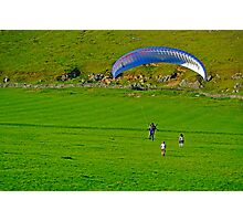 Paraglider Landing Near Ilam  Photographic Print