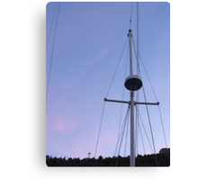 Sail and cross perspective in Sunset Canvas Print
