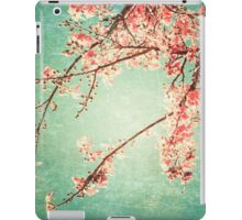 Pink Autumn Leafs on Blue Textured Sky (Vintage Nature Photography) iPad Case/Skin