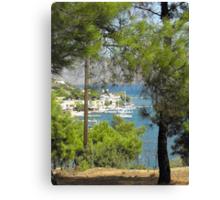 Kalymnos anchored sailboat 2 Canvas Print