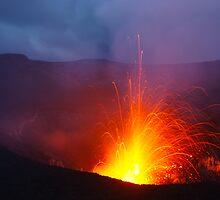 Eruption blast, Yasur volcano.  Tanna. Vanuatu. by Ian Hallmond