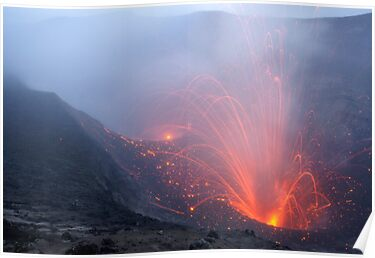 Eruption trails, Yasur volcano.  Tanna. Vanuatu. by Ian Hallmond
