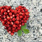 Strawberry heart by Mariann Rea