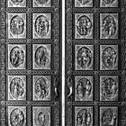 Cathedral Basilica of St. Francis of Assisi Door, NM B&W by GJKImages