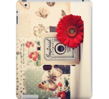 Retro - Vintage Pastel Camera and Red Flowe on a Kitsh Background  iPad Case/Skin