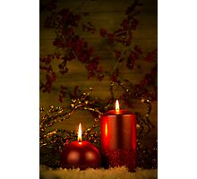 Two candles Christmas decoration Photographic Print