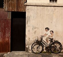 Street art at Armenian Street Georgetown Penang Malaysia by MiImages