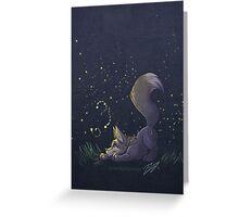 Firefly Fox - Grey Greeting Card