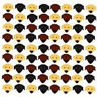 Labrador black chocolate yellow  pattern by Verene Krydsby