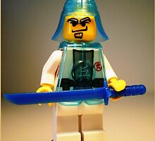 Ching Dynasty Chinese Warrior Custom LEGO® Minifigure with Trans Blue Armour , by 'Customize My Minifig' by Chillee