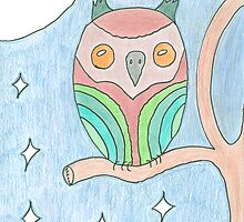 Colourful Owl Original Drawing by elainejhillson
