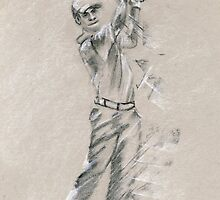 Golfer - sports sketch drawing by Paulette Farrell