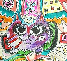 Flying cats dinner time aceo By SJM by passsionflower7
