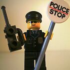 LEGO City Classic Police Patrol Man Minifigure with Police Stop Sign, by &#x27;Customize My Minifig&#x27; by Chillee