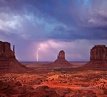 Lightning over The Mittens at Monument Valley by Martin Lawrence