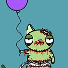 Birthday Zombie Cat with Balloon by jrock1184