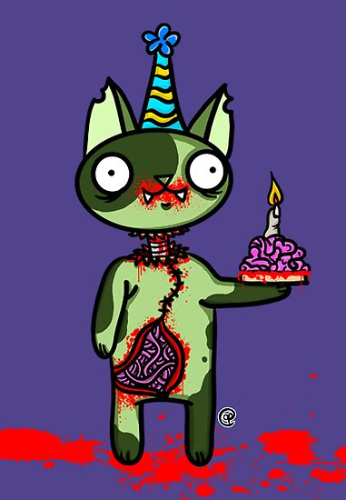 Zombie Birthday Cat with Brain Cake by jrock1184