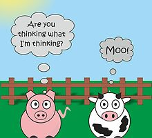 Funny Animals Moo Design Hilarious Rudy Pig & Moody Cow   by Catherine Roberts