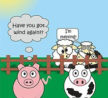 Funny Animals Wind Design Hilarious Rudy Pig & Moody Cow   by Catherine Roberts