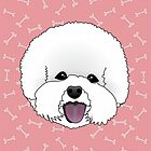 Bichon Frise Cartoon Dog Illustration on Pink Bones Background by Samantha Harrison