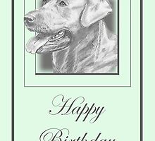 Pencil Drawing of Labrador Dog on Birthday Card by Catherine Roberts