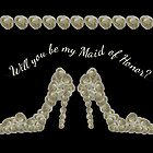Will You Be My Maid of Honor White Rose Handbag & Shoe Design by Catherine Roberts