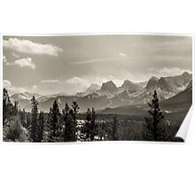 Rocky Mountains in Monochrome Poster