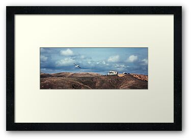 Flying boat over golf club house  196508000012  by Fred Mitchell