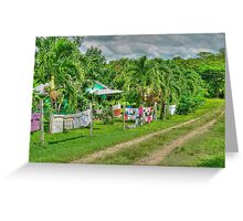 Laundry Day in Bullet Tree Falls Village - Belize, Central America Greeting Card